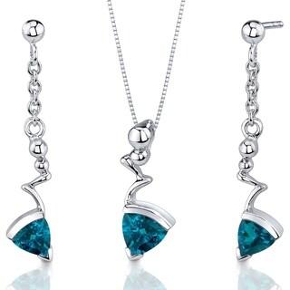 London Blue Topaz Pendant Earrings Set Sterling Silver Trillion Shape 1.75 Carats