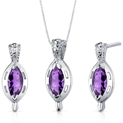 Simply Stunning 1.50 carats Marquise Cut Sterling Silver with Amethyst Pendant Earrings Set
