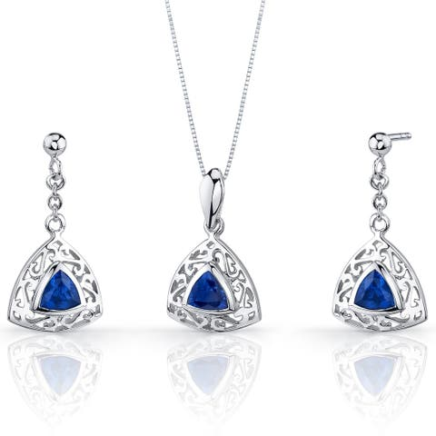 Created Sapphire Pendant Earrings Necklace Sterling Silver Trillion Cut 1.5 Carats