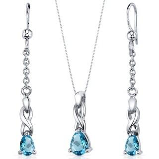 Swiss Blue Topaz Pendant Earrings Necklace Sterling Silver Pear Shape 1.75 Carats