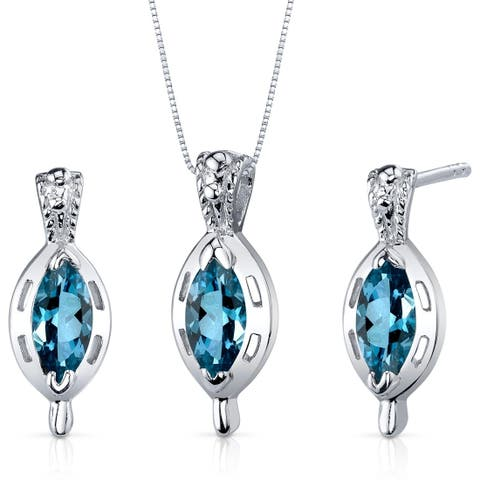 London Blue Topaz Pendant Earrings Set Sterling Silver Marquise Shape 1.50 Carats