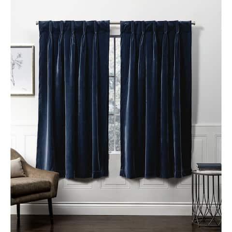ATI Home Velvet Heavyweight Pinch Pleat Top Curtain Panel Pair