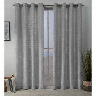 ATI Home Squared Embellished Grommet Top Curtain Panel Pair