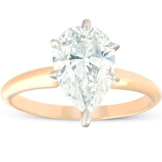 Pompeii3 14k Yellow Gold 2.30 ct Pear Shape Diamond Solitaire Engagement Ring Clarity Enhanced (I/SI1-SI2)