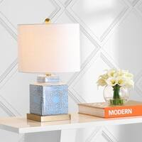 """Catherine 22"""" Ceramic/Metal Ginger Jar LED Table Lamp, Blue/White by JONATHAN  Y"""