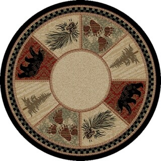 """Rustic Lodge Cades Cove Black Bear 8 Foot Round Area Rug - 7'10"""" Round"""