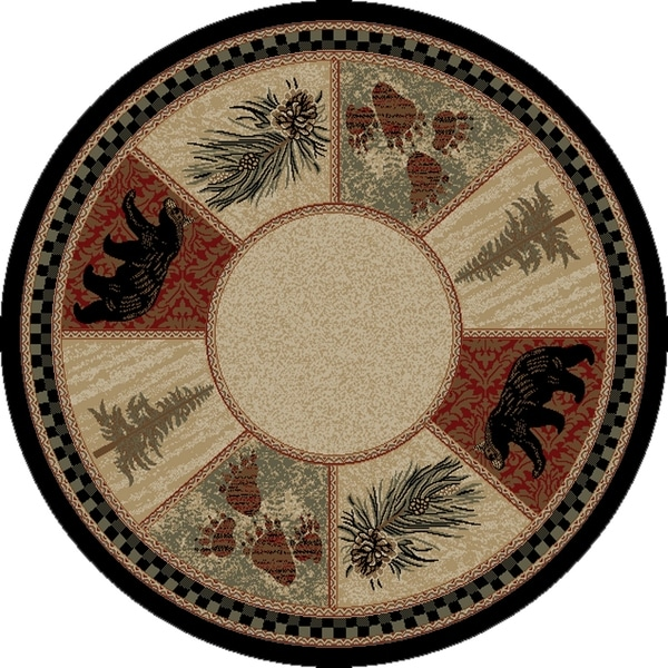 Shop Rustic Lodge Cades Cove Black Bear 8 Foot Round Area Rug 7 10
