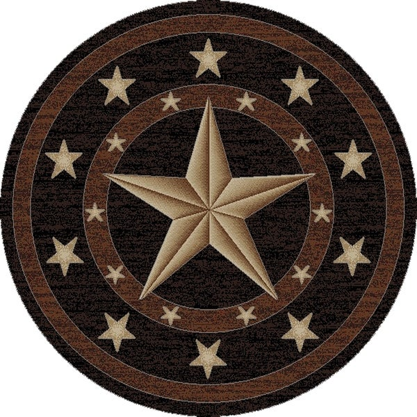 Shop Western Star Texas Black Circle 5 Foot Round Area Rug 5 3 X 5