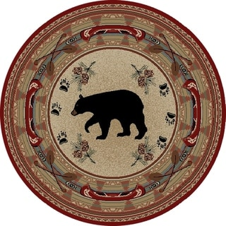 """Rustic Lodge Woodlands Black Bear Circle Red 8 Foot Round Area Rug - 7'10"""" Round"""