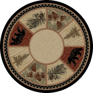 """Rustic Lodge Cades Cove Black Bear 5 Foot Round Area Rug - 5'3"""" Round"""