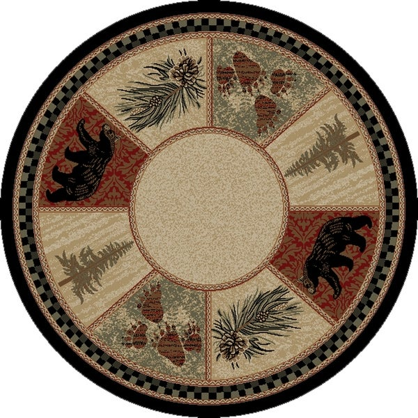 Rustic Lodge Cades Cove Black Bear 5 Foot Round Area Rug X27
