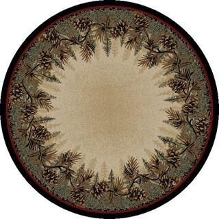 "Rustic Lodge Mount Le Conte Pine Cone Border Brown Circle 8 Foot Round Area Rug - 7'10"" Round"