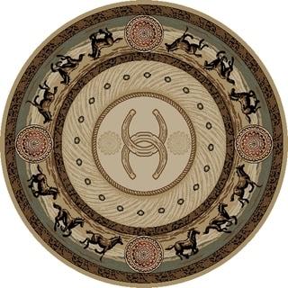 """Western Horse Beige Cheyenne Circle 8 Foot Round Area Rug - 7'10"""" Round"""