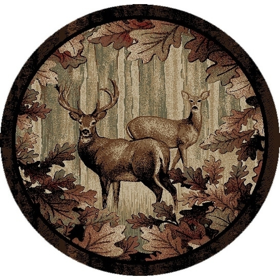 Shop Rustic Lodge Whitetail Woods Deer Leaves Circle 8