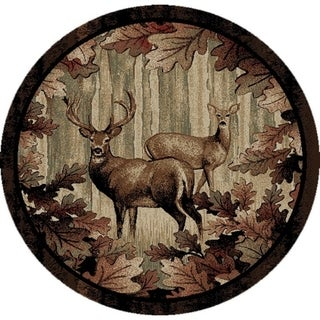 "Rustic Lodge Whitetail Woods Deer Leaves Circle 5 Foot Round Area Rug - 5'3"" Round"