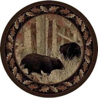 "Rustic Lodge Smokey Mountains Black Bear Circle 5 Foot Round Area Rug - 5'3"" Round"