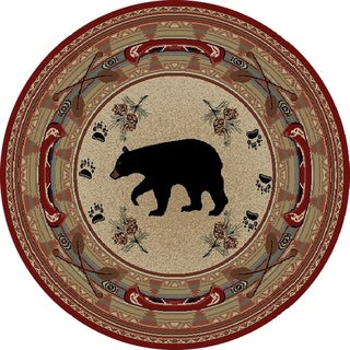 """Rustic Lodge Woodlands Black Bear Circle Red 5 Foot Round Area Rug - 5'3"""" Round"""