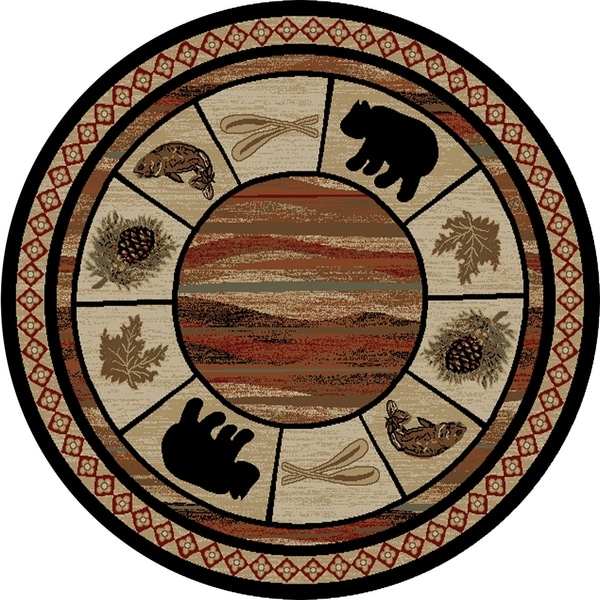 Rustic Lodge Black Bear Circle Vogel 5 Foot Round Area Rug X27