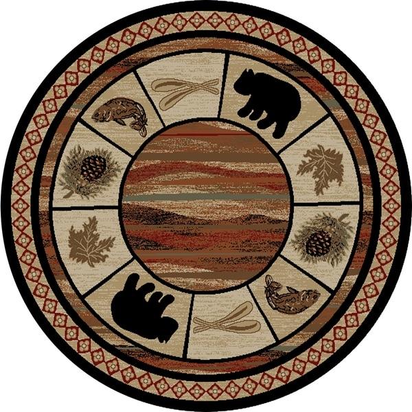 Shop Rustic Lodge Black Bear Circle Vogel 5 Foot Round Area Rug 5