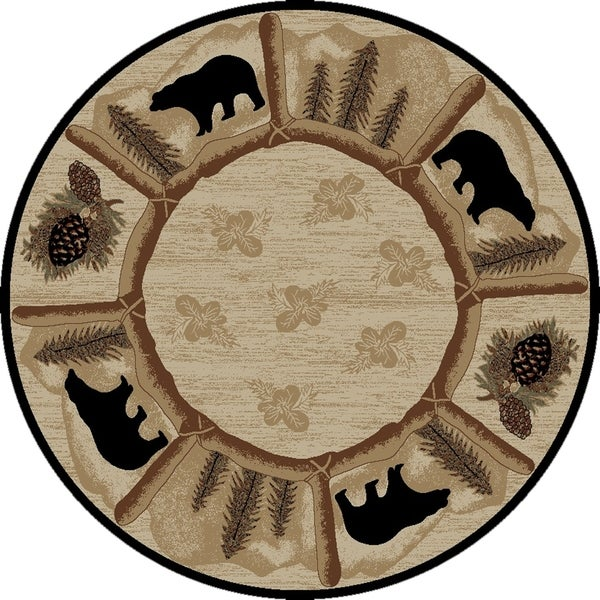 Shop Rustic Lodge Black Bear Circle Toccoa Beige 8 Foot
