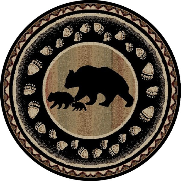 """Rustic Lodge Black Bear Circle Take the Lead 8 Foot Round Area Rug - 7'10"""" Round"""