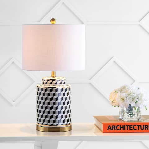 "Ellie 24.5"" Tumbling Block Ceramic/Metal LED Table Lamp, Black/White by JONATHAN Y"