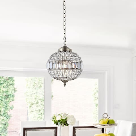 "Georgina 12"" Crystal/Metal LED Chandelier Pendant, Antique Brass by JONATHAN Y"