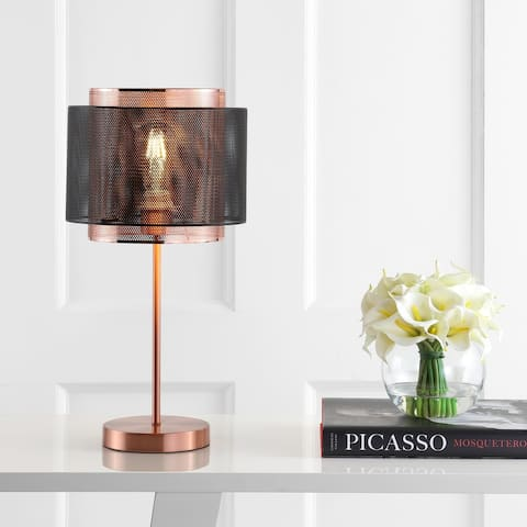 """Tribeca 19.7"""" Metal LED Table Lamp, Copper/Black by JONATHAN Y"""