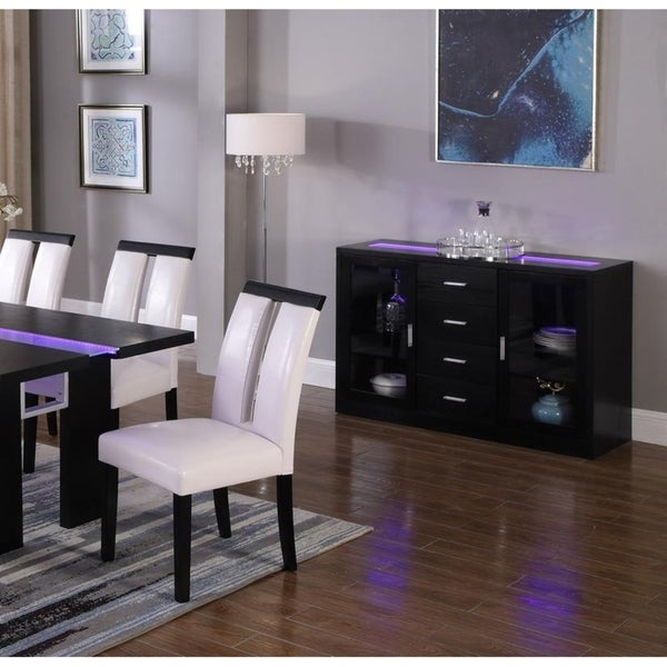 Best Master Furniture Black Wood Server with LED Lighting