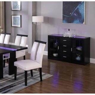 Best Master Furniture Black Wood Server with LED Lighting