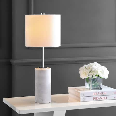 "Aksel 25.5"" Marble LED Table Lamp, White/Chrome by JONATHAN Y"