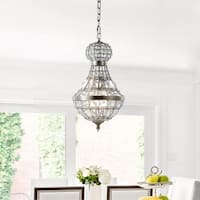 "Regina 12"" Crystal/Metal Empire LED Chandelier, Antique Brass by JONATHAN  Y"