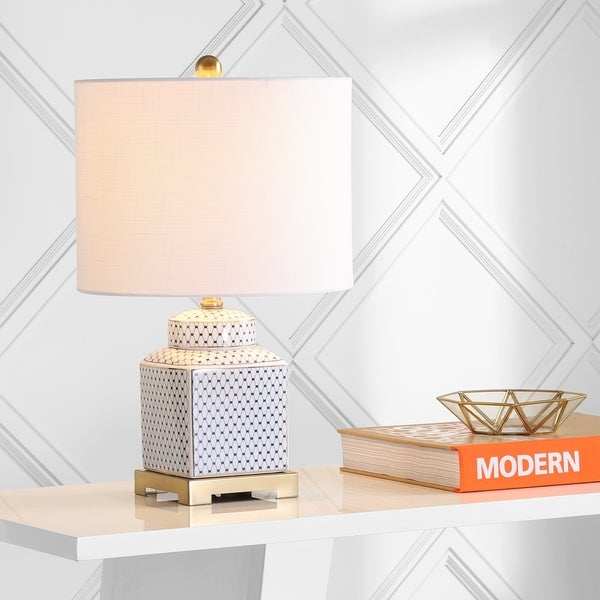 Jonathan Y JYL3015C Table Lamp White with White Shade 14 x 26.5 x 14