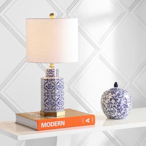 "Diana 23.5"" Ginger Jar Ceramic/Metal LED Table Lamp, Blue/White by JONATHAN Y"