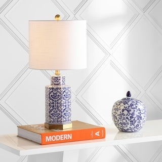 """Link to Diana 23.5"""" Ginger Jar Ceramic/Metal LED Table Lamp, Blue/White  by JONATHAN  Y Similar Items in Table Lamps"""