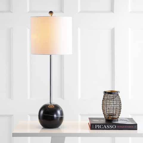 "Alexa 31.5"" Marble Sphere LED Table Lamp, Black/Chrome by JONATHAN Y"