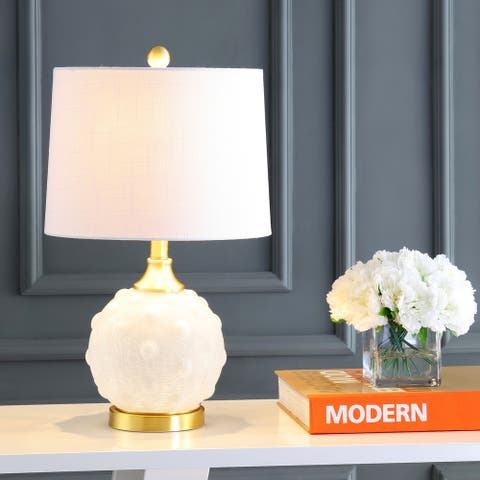 """Ilsa 22"""" Dotted Glass/Metal LED Table Lamp, White/Brass Gold by JONATHAN Y"""