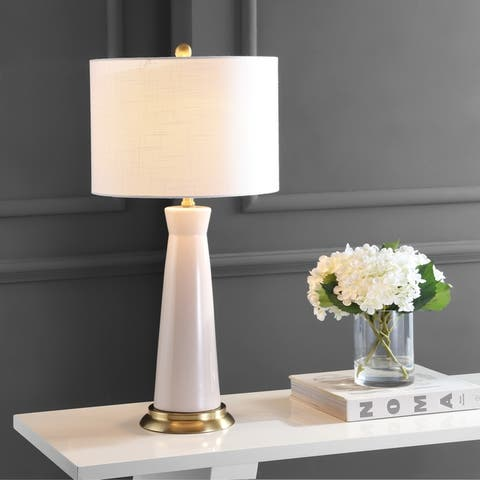 """Hartley 29"""" Ceramic Column LED Table Lamp, Dusty Rose by JONATHAN Y"""