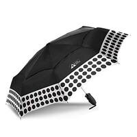 Black Aspen Windproof Travel Auto Open Vented Umbrella