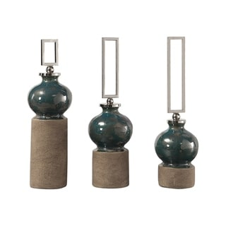 Uttermost Francis Blue Glaze Bottles (Set of 3)