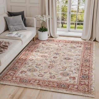 Traditional Babylon Abstract Beige/ Red Indoor Rug