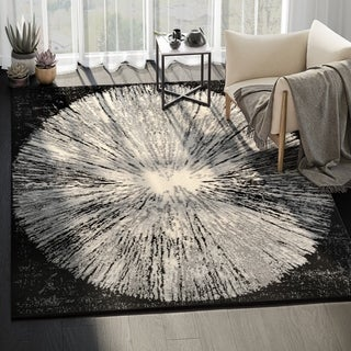 Eden Contemporary Abstract Black/ Ivory Indoor Rug - 5' x 8'