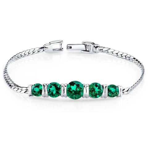 Simulated Emerald Bracelet Sterling Silver 3.50 Carats 5 Stone Design