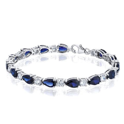 Tear Drop Created Sapphire Bracelet in Sterling Silver 13 Carats Total Weight