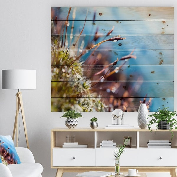 Designart 'Abstract Moss Flowers in Summer Spring' Landscape Print on Natural Pine Wood - Multi-color