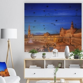 Designart 'View of Spain Square at Sunset' Cityscape Print on Natural Pine Wood - Multi-color