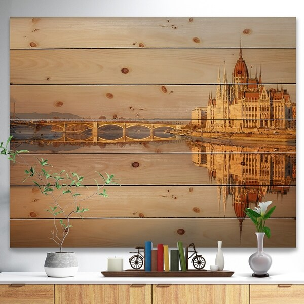 Designart 'Hungarian Parliament Panorama' Cityscape Print on Natural Pine Wood - Multi-color
