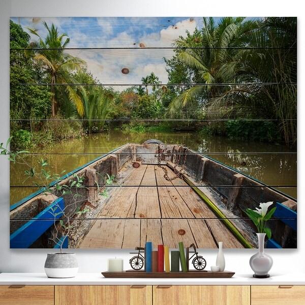 Designart 'Boat in Mekong River Vietnam' Landscape Print on Natural Pine Wood - Green