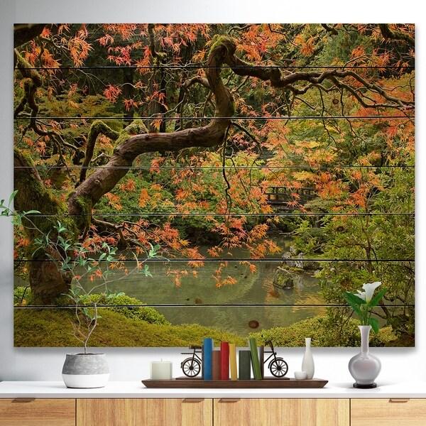 Designart 'Japanese Garden Fall Season' Landscape Print on Natural Pine Wood - Green