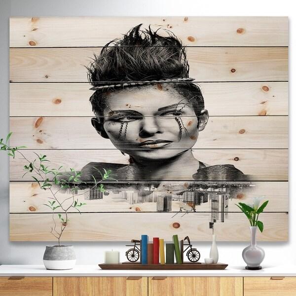 Designart 'Double Exposure Woman With Hair' Portrait Print on Natural Pine Wood - Black